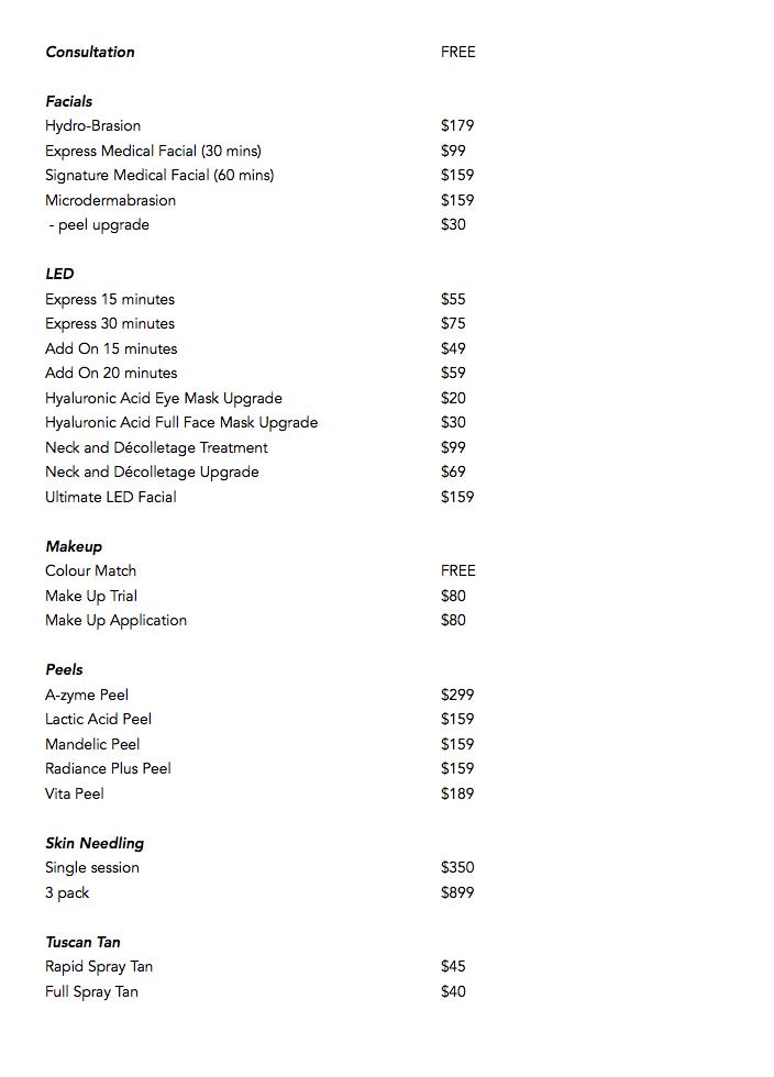 skin price list